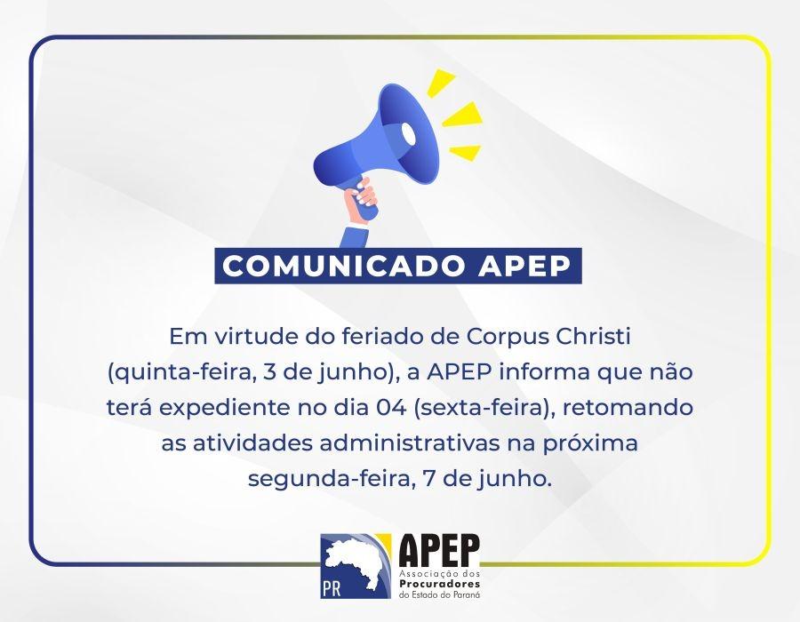 Comunicado da APEP – Feriado de Corpus Christi