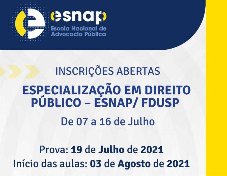 Inscrições para Especialização em Direito Público prosseguem até dia 16 de julho