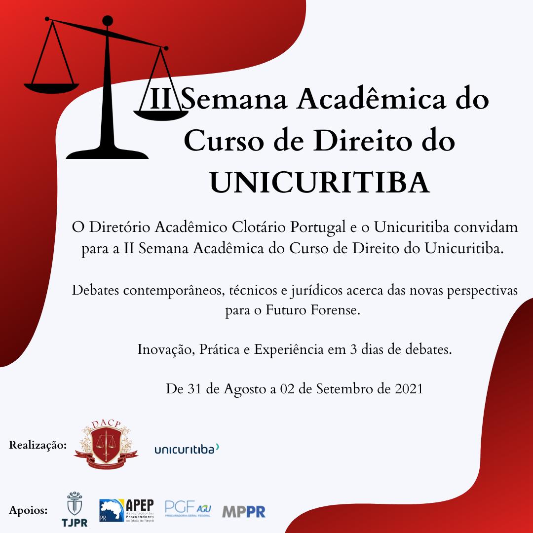 Procurador Roberto Altheim, diretor de Planejamento da APEP, será palestrante na II Semana Acadêmica de Direito do Unicuritiba