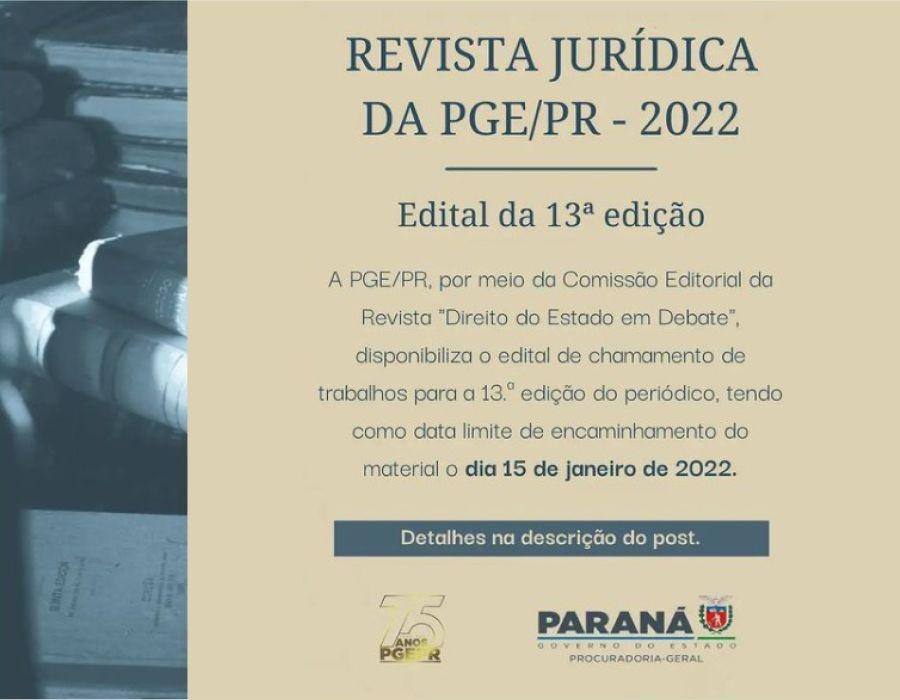 """PGE-PR lança edital para envio de artigos jurídicos para a 13ª edição da Revista """"Direito do Estado em Debate"""""""