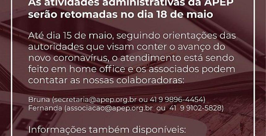 30.04.20 - APEP estende período de atividades em home office até 15 de maio